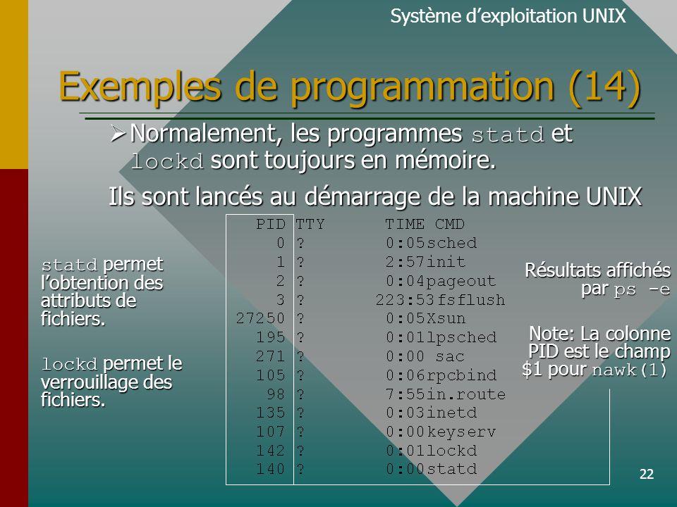 22 Exemples de programmation (14) Système dexploitation UNIX Normalement, les programmes statd et lockd sont toujours en mémoire. Normalement, les pro