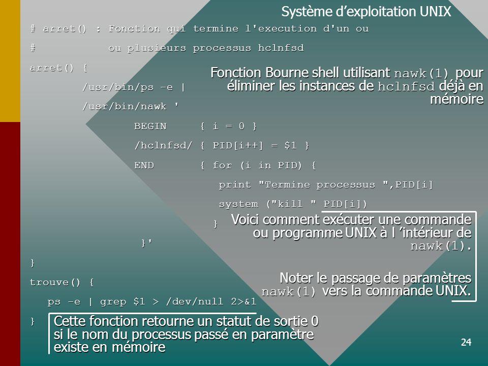 24 Système dexploitation UNIX # arret() : Fonction qui termine l execution d un ou # ou plusieurs processus hclnfsd arret() { /usr/bin/ps -e | /usr/bin/ps -e | /usr/bin/nawk /usr/bin/nawk BEGIN { i = 0 } BEGIN { i = 0 } /hclnfsd/ { PID[i++] = $1 } /hclnfsd/ { PID[i++] = $1 } END { for (i in PID) { END { for (i in PID) { print Termine processus ,PID[i] print Termine processus ,PID[i] system ( kill PID[i]) system ( kill PID[i]) } } } } trouve() { ps -e | grep $1 > /dev/null 2>&1 } Fonction Bourne shell utilisant nawk(1) pour éliminer les instances de hclnfsd déjà en mémoire Voici comment exécuter une commande ou programme UNIX à l intérieur de nawk(1).