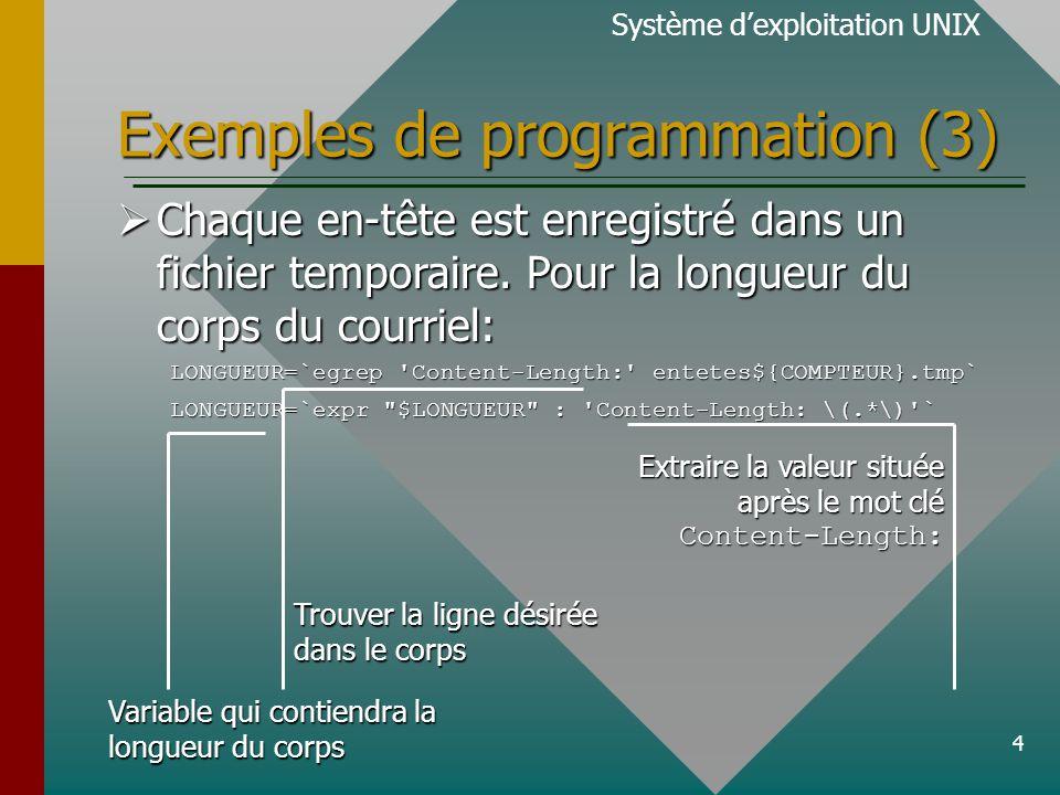 4 Exemples de programmation (3) Système dexploitation UNIX Chaque en-tête est enregistré dans un fichier temporaire. Pour la longueur du corps du cour
