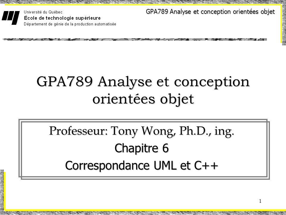 GPA789 Analyse et conception orientées objet 1 Professeur: Tony Wong, Ph.D., ing.