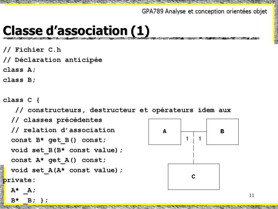 GPA789 Analyse et conception orientées objet 11 Classe dassociation (1) // Fichier C.h // Déclaration anticipée class A; class B; class C { // constru