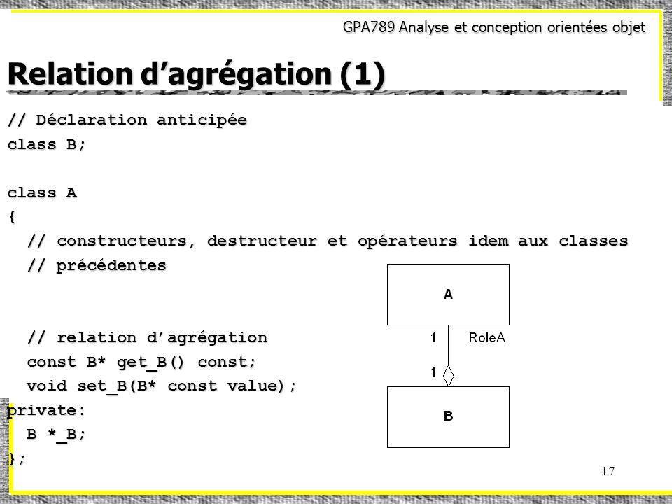 GPA789 Analyse et conception orientées objet 17 Relation dagrégation (1) // Déclaration anticipée class B; class A { // constructeurs, destructeur et opérateurs idem aux classes // constructeurs, destructeur et opérateurs idem aux classes // précédentes // précédentes // relation dagrégation // relation dagrégation const B* get_B() const; const B* get_B() const; void set_B(B* const value); void set_B(B* const value);private: B *_B; B *_B;};