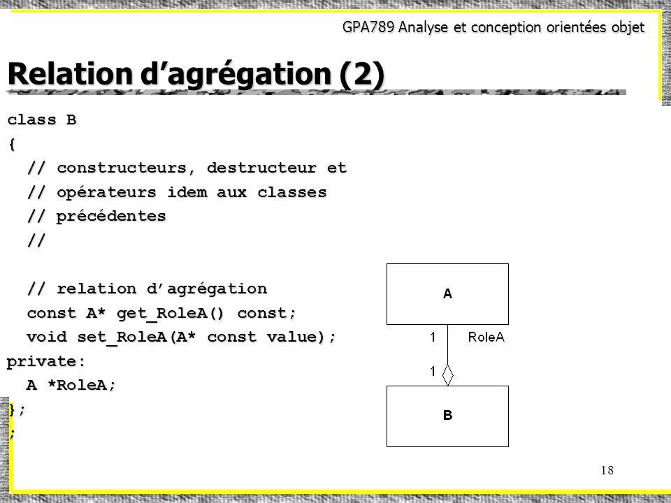 GPA789 Analyse et conception orientées objet 18 Relation dagrégation (2) class B { // constructeurs, destructeur et // constructeurs, destructeur et // opérateurs idem aux classes // opérateurs idem aux classes // précédentes // précédentes // // // relation dagrégation // relation dagrégation const A* get_RoleA() const; const A* get_RoleA() const; void set_RoleA(A* const value); void set_RoleA(A* const value);private: A *RoleA; A *RoleA;};;