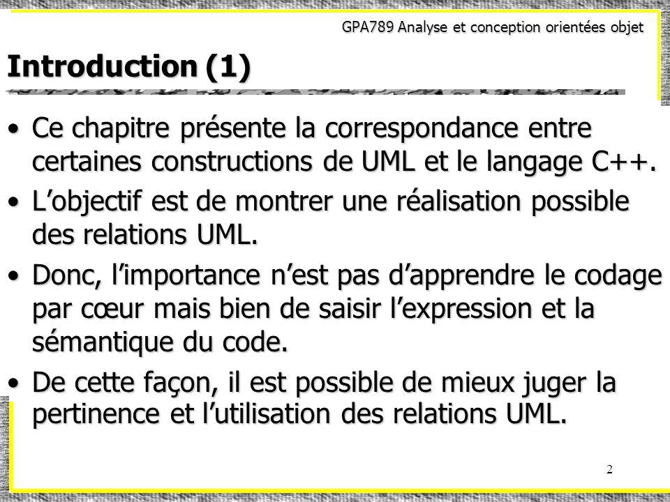 GPA789 Analyse et conception orientées objet 2 Introduction (1) Ce chapitre présente la correspondance entre certaines constructions de UML et le langage C++.Ce chapitre présente la correspondance entre certaines constructions de UML et le langage C++.