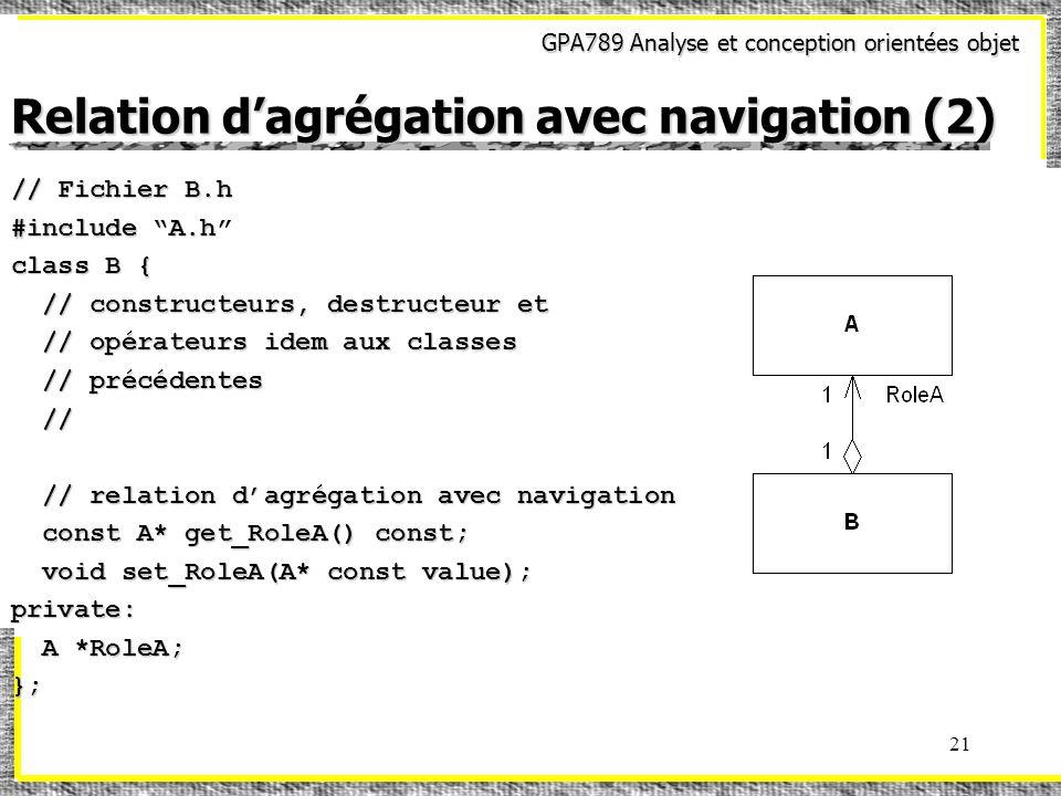 GPA789 Analyse et conception orientées objet 21 Relation dagrégation avec navigation (2) // Fichier B.h #include A.h class B { // constructeurs, destructeur et // constructeurs, destructeur et // opérateurs idem aux classes // opérateurs idem aux classes // précédentes // précédentes // // // relation dagrégation avec navigation // relation dagrégation avec navigation const A* get_RoleA() const; const A* get_RoleA() const; void set_RoleA(A* const value); void set_RoleA(A* const value);private: A *RoleA; A *RoleA;};