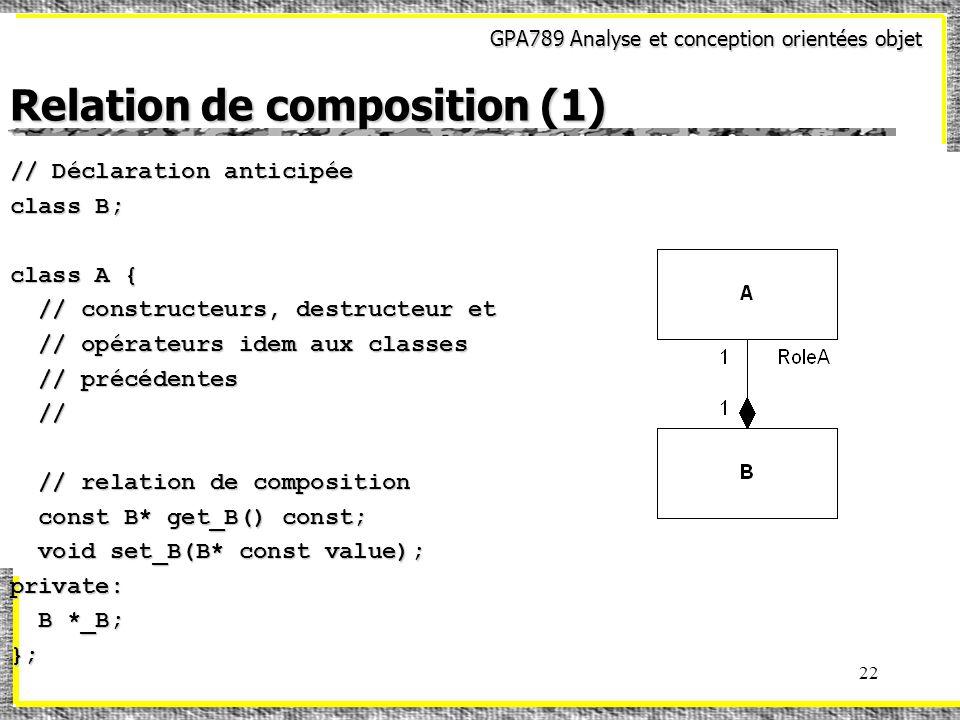 GPA789 Analyse et conception orientées objet 22 Relation de composition (1) // Déclaration anticipée class B; class A { // constructeurs, destructeur et // constructeurs, destructeur et // opérateurs idem aux classes // opérateurs idem aux classes // précédentes // précédentes // // // relation de composition // relation de composition const B* get_B() const; const B* get_B() const; void set_B(B* const value); void set_B(B* const value);private: B *_B; B *_B;};
