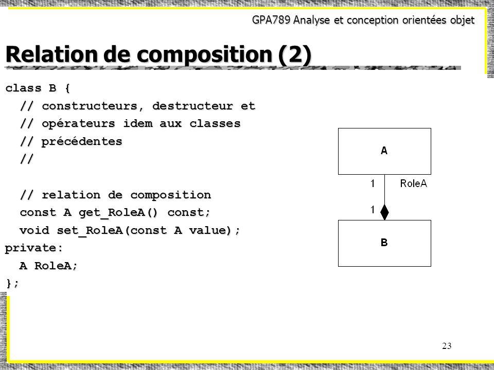 GPA789 Analyse et conception orientées objet 23 Relation de composition (2) class B { // constructeurs, destructeur et // constructeurs, destructeur et // opérateurs idem aux classes // opérateurs idem aux classes // précédentes // précédentes // // // relation de composition // relation de composition const A get_RoleA() const; const A get_RoleA() const; void set_RoleA(const A value); void set_RoleA(const A value);private: A RoleA; A RoleA;};