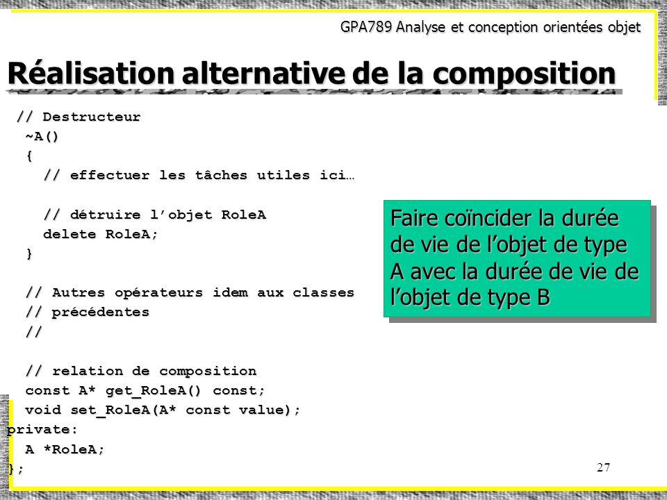 GPA789 Analyse et conception orientées objet 27 Réalisation alternative de la composition // Destructeur // Destructeur ~A() ~A() { // effectuer les tâches utiles ici… // effectuer les tâches utiles ici… // détruire lobjet RoleA // détruire lobjet RoleA delete RoleA; delete RoleA; } // Autres opérateurs idem aux classes // Autres opérateurs idem aux classes // précédentes // précédentes // // // relation de composition // relation de composition const A* get_RoleA() const; const A* get_RoleA() const; void set_RoleA(A* const value); void set_RoleA(A* const value);private: A *RoleA; A *RoleA;}; Faire coïncider la durée de vie de lobjet de type A avec la durée de vie de lobjet de type B