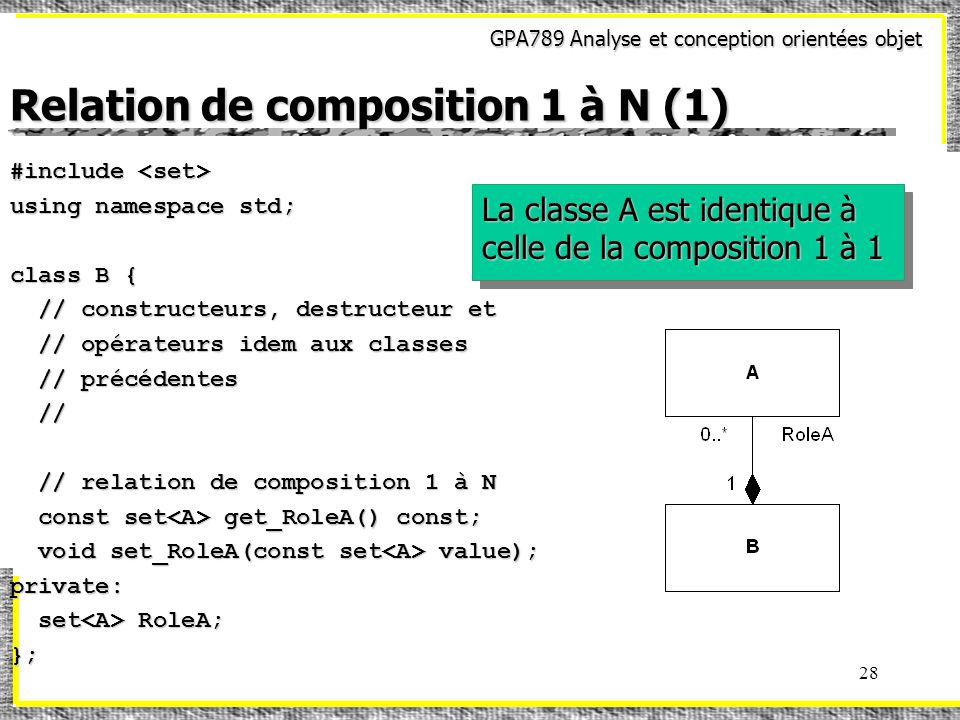 GPA789 Analyse et conception orientées objet 28 Relation de composition 1 à N (1) #include #include using namespace std; class B { // constructeurs, destructeur et // constructeurs, destructeur et // opérateurs idem aux classes // opérateurs idem aux classes // précédentes // précédentes // // // relation de composition 1 à N // relation de composition 1 à N const set get_RoleA() const; const set get_RoleA() const; void set_RoleA(const set value); void set_RoleA(const set value);private: set RoleA; set RoleA;}; La classe A est identique à celle de la composition 1 à 1