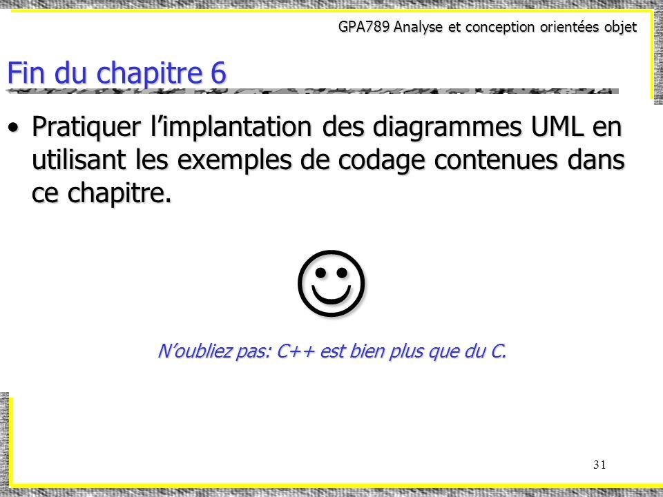 GPA789 Analyse et conception orientées objet 31 Fin du chapitre 6 Pratiquer limplantation des diagrammes UML en utilisant les exemples de codage contenues dans ce chapitre.Pratiquer limplantation des diagrammes UML en utilisant les exemples de codage contenues dans ce chapitre.