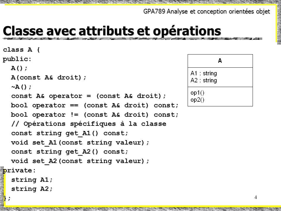 GPA789 Analyse et conception orientées objet 4 Classe avec attributs et opérations class A { public: A(); A(); A(const A& droit); A(const A& droit); ~A(); ~A(); const A& operator = (const A& droit); const A& operator = (const A& droit); bool operator == (const A& droit) const; bool operator == (const A& droit) const; bool operator != (const A& droit) const; bool operator != (const A& droit) const; // Opérations spécifiques à la classe // Opérations spécifiques à la classe const string get_A1() const; const string get_A1() const; void set_A1(const string valeur); void set_A1(const string valeur); const string get_A2() const; const string get_A2() const; void set_A2(const string valeur); void set_A2(const string valeur);private: string A1; string A1; string A2; string A2;};