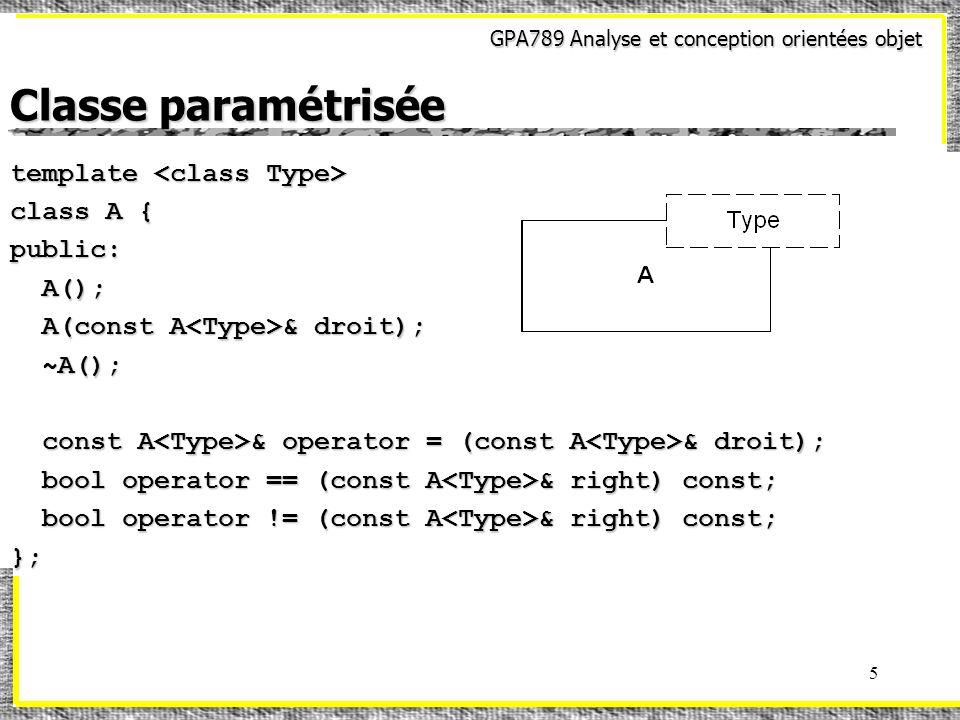 GPA789 Analyse et conception orientées objet 5 Classe paramétrisée template template class A { public: A(); A(); A(const A & droit); A(const A & droit); ~A(); ~A(); const A & operator = (const A & droit); const A & operator = (const A & droit); bool operator == (const A & right) const; bool operator == (const A & right) const; bool operator != (const A & right) const; bool operator != (const A & right) const;};
