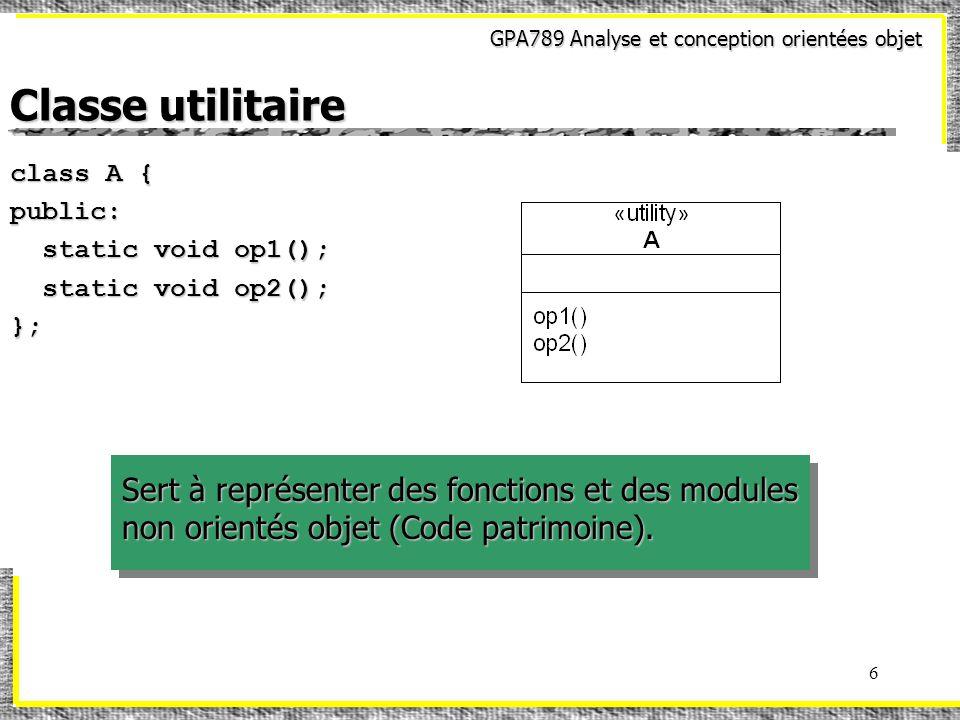 GPA789 Analyse et conception orientées objet 6 Classe utilitaire class A { public: static void op1(); static void op1(); static void op2(); static void op2();}; Sert à représenter des fonctions et des modules non orientés objet (Code patrimoine).