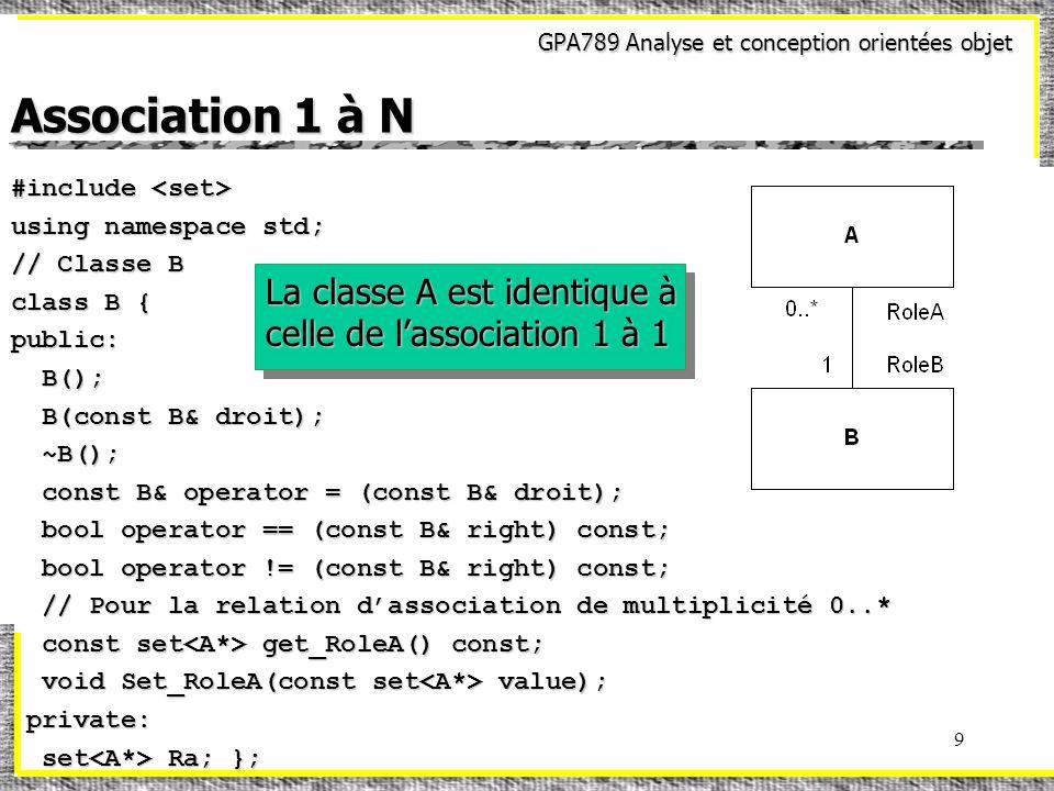 GPA789 Analyse et conception orientées objet 9 Association 1 à N #include #include using namespace std; // Classe B class B { public: B(); B(); B(cons