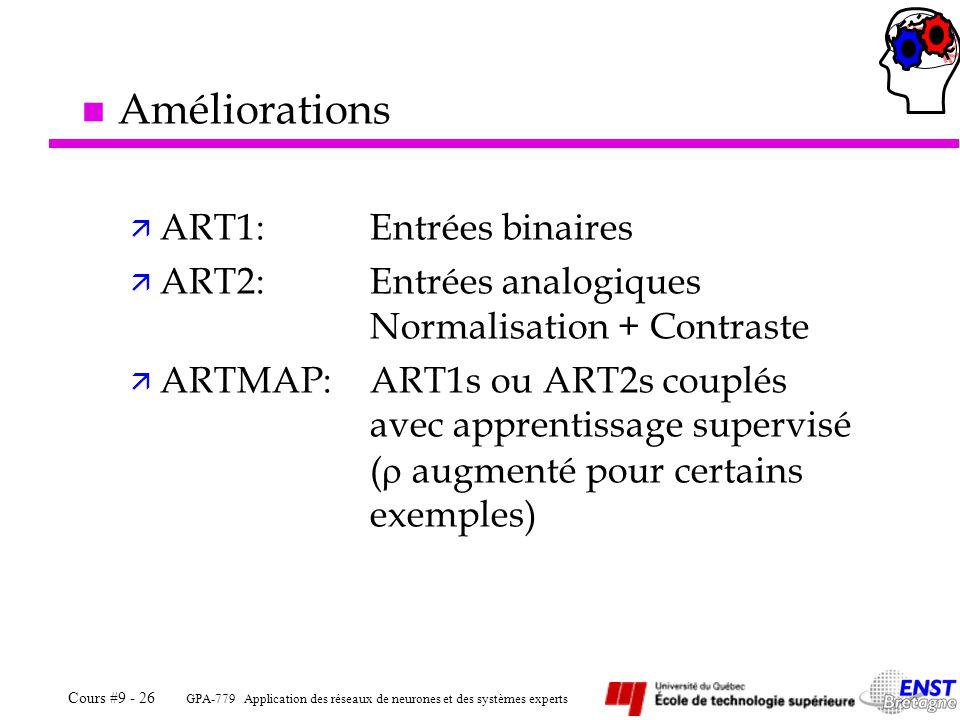 GPA-779 Application des réseaux de neurones et des systèmes experts Cours #9 - 26 n Améliorations ä ART1:Entrées binaires ä ART2:Entrées analogiques Normalisation + Contraste ä ARTMAP:ART1s ou ART2s couplés avec apprentissage supervisé ( augmenté pour certains exemples)
