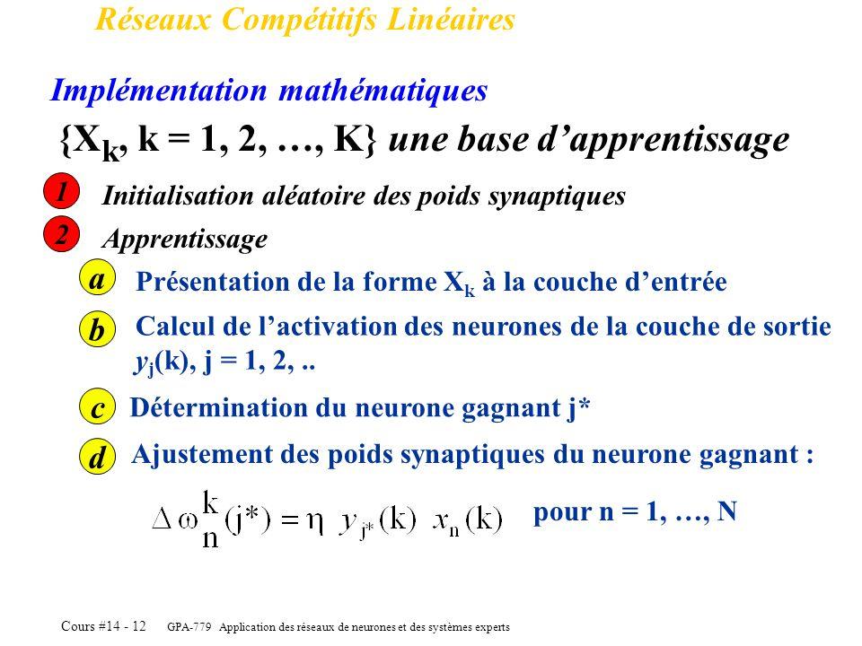 GPA-779 Application des réseaux de neurones et des systèmes experts Cours #14 - 12 Réseaux Compétitifs Linéaires Implémentation mathématiques {X k, k