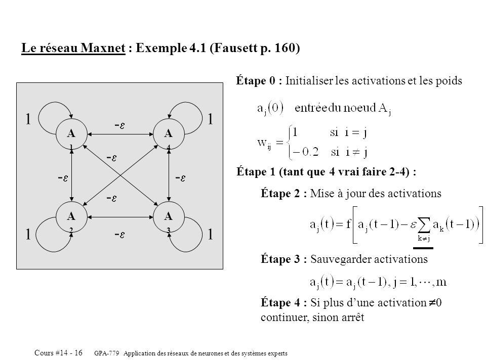 GPA-779 Application des réseaux de neurones et des systèmes experts Cours #14 - 16 A2A2 A3A3 A1A1 A4A4 11 11 Le réseau Maxnet : Exemple 4.1 (Fausett p