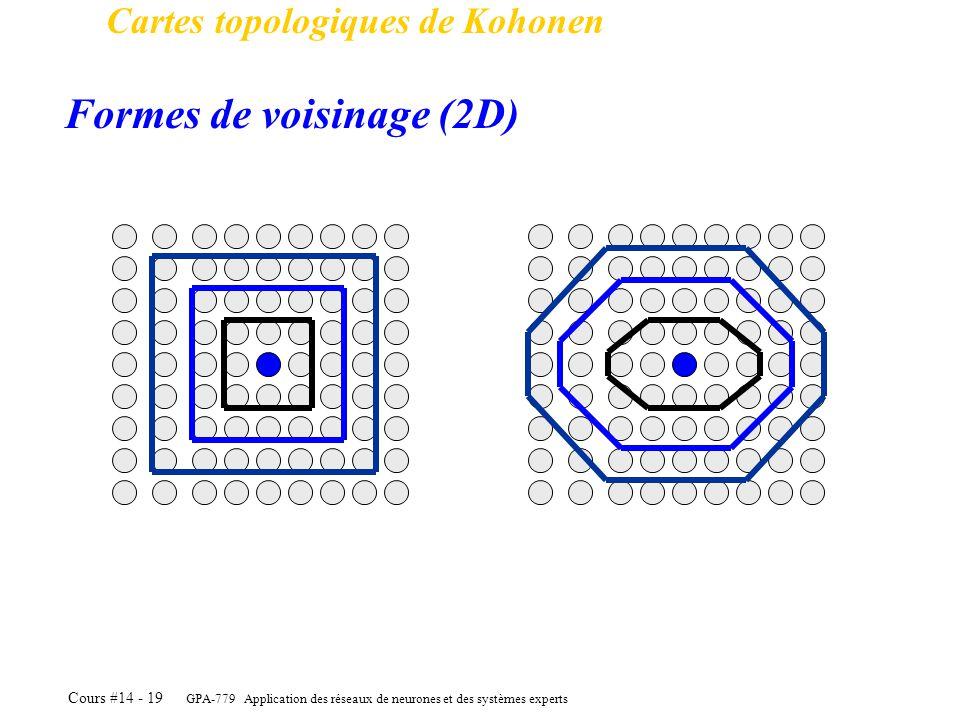 GPA-779 Application des réseaux de neurones et des systèmes experts Cours #14 - 19 Cartes topologiques de Kohonen Formes de voisinage (2D)