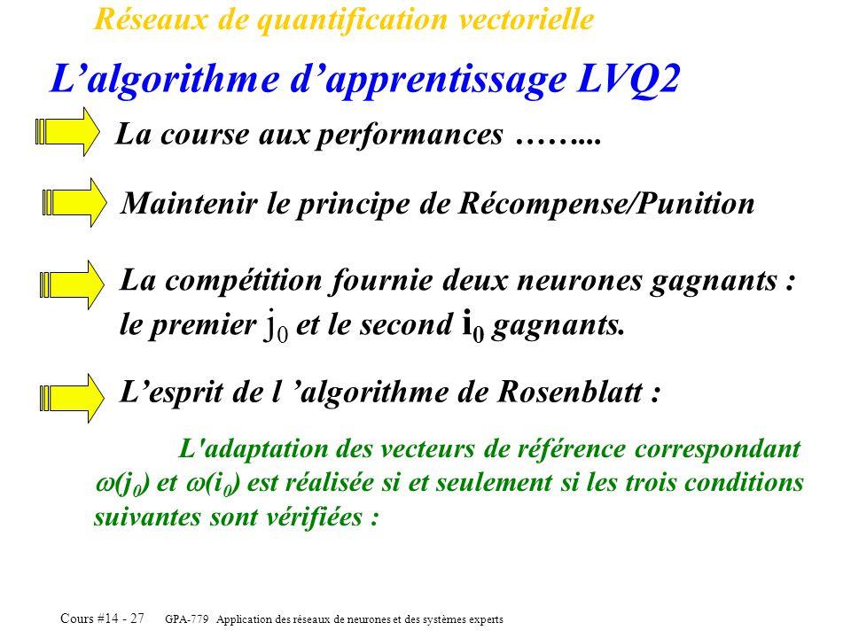 GPA-779 Application des réseaux de neurones et des systèmes experts Cours #14 - 27 Réseaux de quantification vectorielle Lalgorithme dapprentissage LV