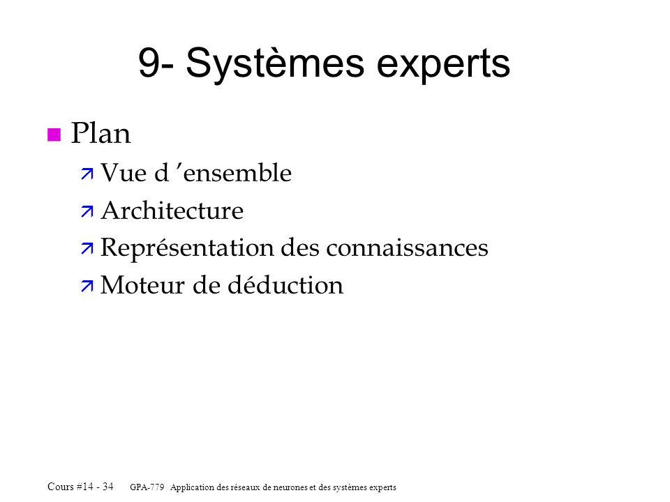 GPA-779 Application des réseaux de neurones et des systèmes experts Cours #14 - 34 9- Systèmes experts n Plan ä Vue d ensemble ä Architecture ä Représ