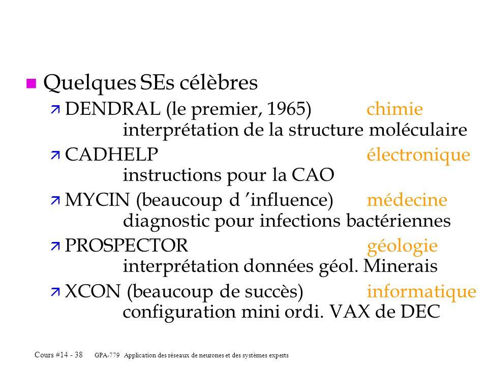 GPA-779 Application des réseaux de neurones et des systèmes experts Cours #14 - 38 n Quelques SEs célèbres ä DENDRAL (le premier, 1965)chimie interpré