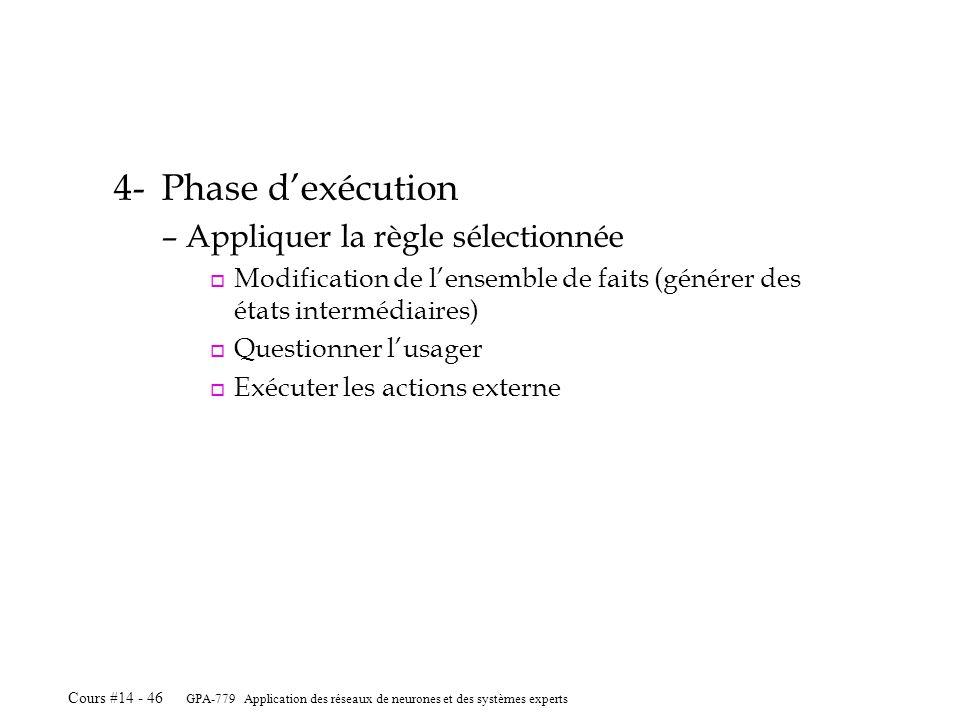 GPA-779 Application des réseaux de neurones et des systèmes experts Cours #14 - 46 4-Phase dexécution –Appliquer la règle sélectionnée o Modification