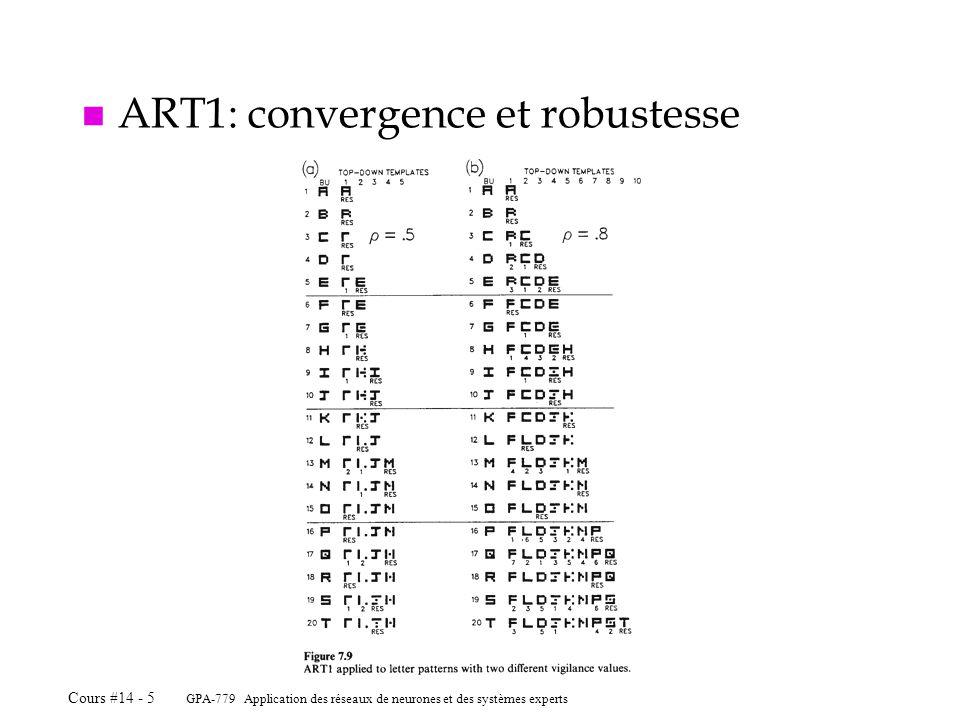 GPA-779 Application des réseaux de neurones et des systèmes experts Cours #14 - 5 n ART1: convergence et robustesse