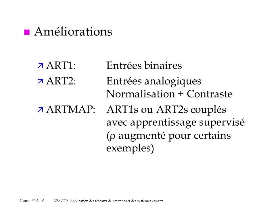 GPA-779 Application des réseaux de neurones et des systèmes experts Cours #14 - 6 n Améliorations ä ART1:Entrées binaires ä ART2:Entrées analogiques N