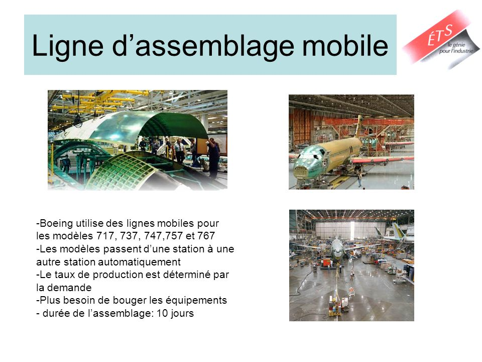 Ligne dassemblage mobile -Boeing utilise des lignes mobiles pour les modèles 717, 737, 747,757 et 767 -Les modèles passent dune station à une autre station automatiquement -Le taux de production est déterminé par la demande -Plus besoin de bouger les équipements - durée de lassemblage: 10 jours