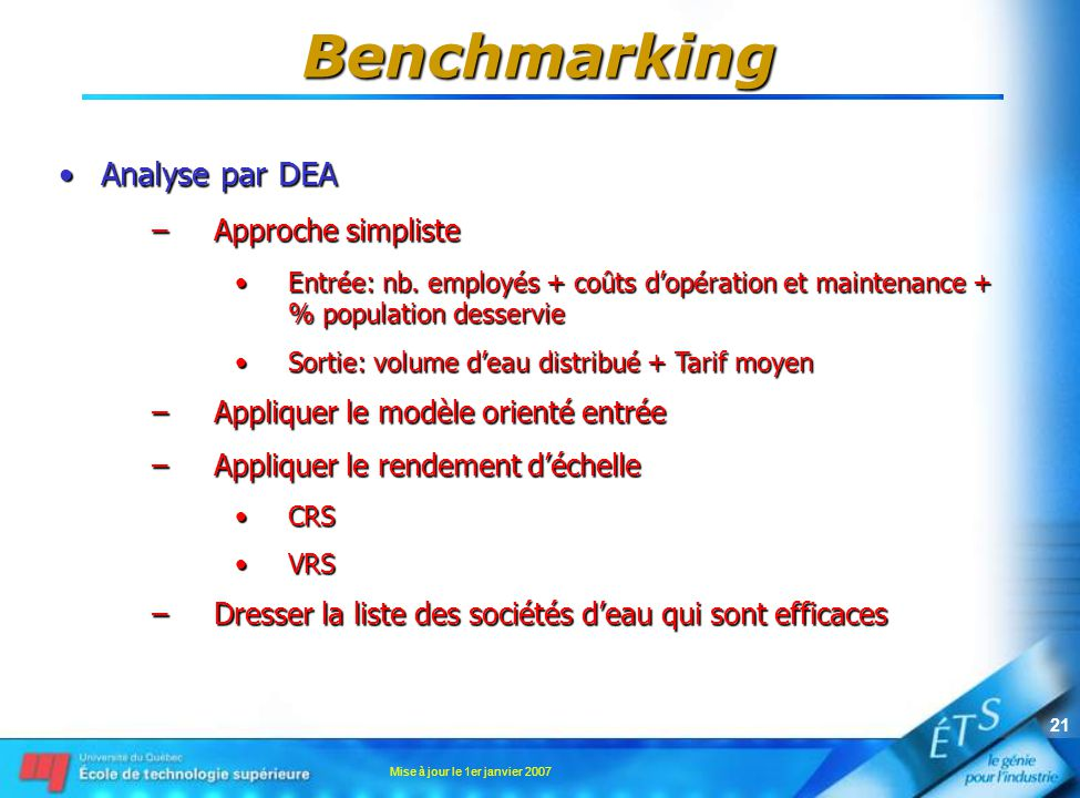 Mise à jour le 1er janvier 2007 21 Analyse par DEAAnalyse par DEA –Approche simpliste Entrée: nb. employés + coûts dopération et maintenance + % popul