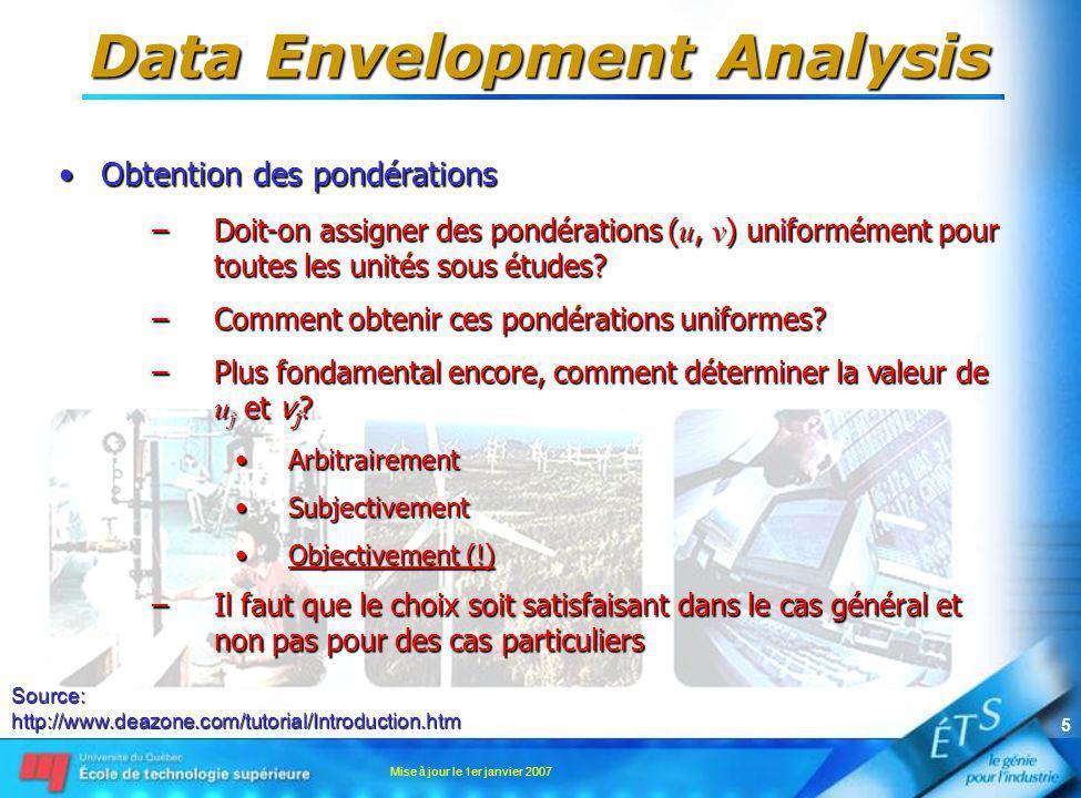 Mise à jour le 1er janvier 2007 5 Data Envelopment Analysis Obtention des pondérationsObtention des pondérations –Doit-on assigner des pondérations ( u, v ) uniformément pour toutes les unités sous études.