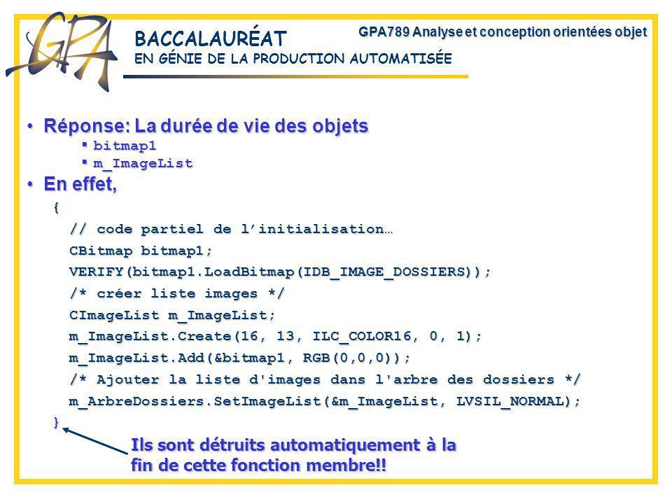 GPA789 Analyse et conception orientées objet BACCALAURÉAT EN GÉNIE DE LA PRODUCTION AUTOMATISÉE Réponse: La durée de vie des objetsRéponse: La durée de vie des objets bitmap1 bitmap1 m_ImageList m_ImageList En effet,En effet,{ // code partiel de linitialisation… CBitmap bitmap1; VERIFY(bitmap1.LoadBitmap(IDB_IMAGE_DOSSIERS)); /* créer liste images */ CImageList m_ImageList; m_ImageList.Create(16, 13, ILC_COLOR16, 0, 1); m_ImageList.Add(&bitmap1, RGB(0,0,0)); /* Ajouter la liste d images dans l arbre des dossiers */ m_ArbreDossiers.SetImageList(&m_ImageList, LVSIL_NORMAL); } Ils sont détruits automatiquement à la fin de cette fonction membre!!