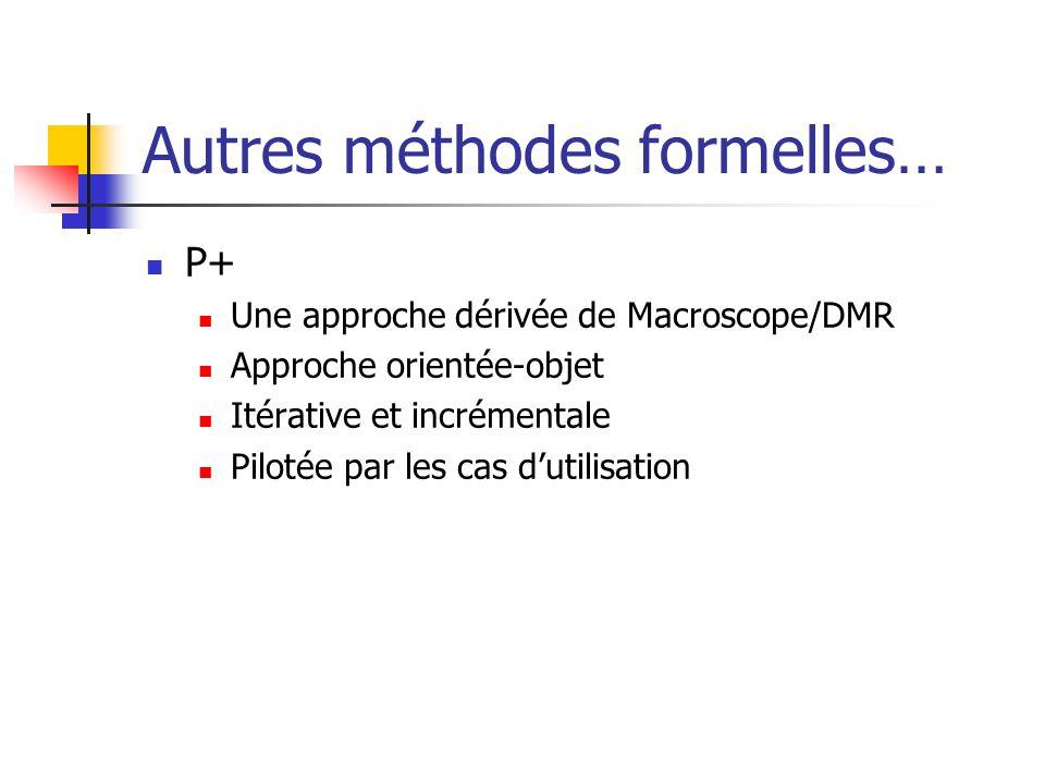 Autres méthodes formelles… P+ Une approche dérivée de Macroscope/DMR Approche orientée-objet Itérative et incrémentale Pilotée par les cas dutilisatio