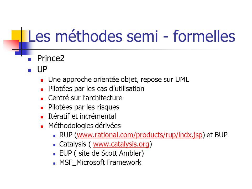 Les méthodes semi - formelles Prince2 UP Une approche orientée objet, repose sur UML Pilotées par les cas dutilisation Centré sur larchitecture Piloté