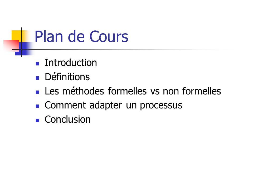 Plan de Cours Introduction Définitions Les méthodes formelles vs non formelles Comment adapter un processus Conclusion