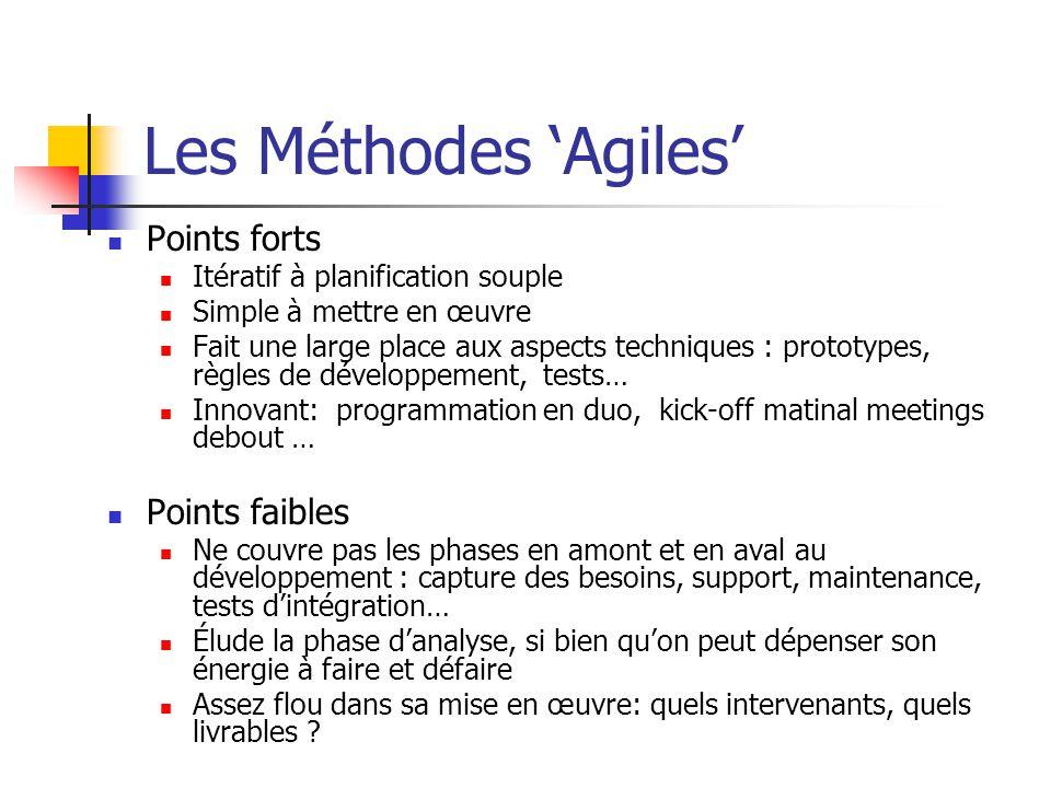 Les Méthodes Agiles Points forts Itératif à planification souple Simple à mettre en œuvre Fait une large place aux aspects techniques : prototypes, rè