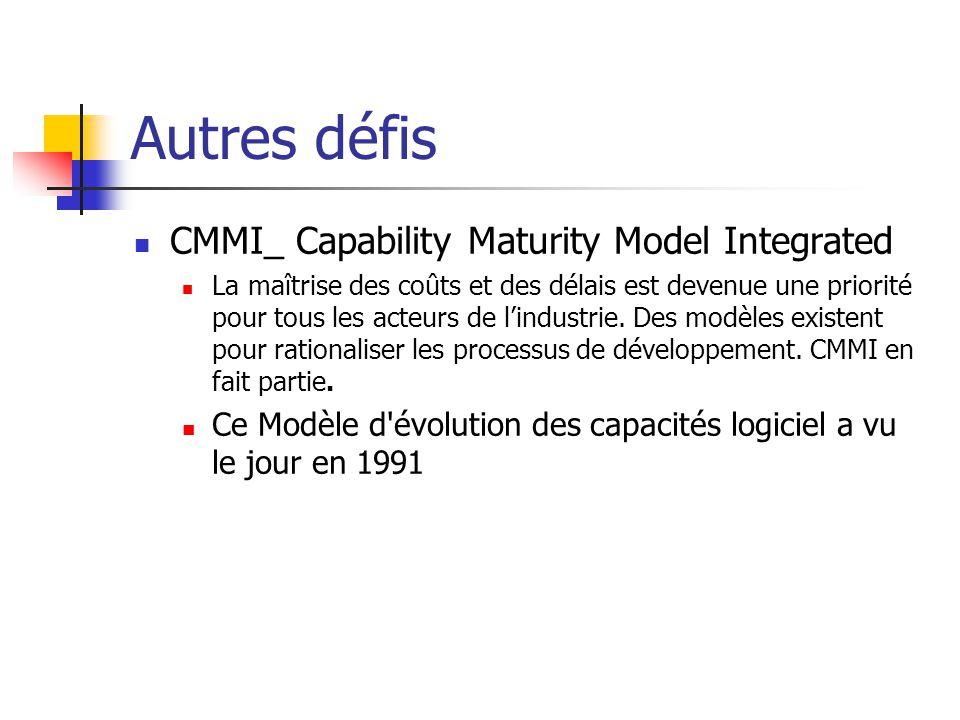 Autres défis CMMI_ Capability Maturity Model Integrated La maîtrise des coûts et des délais est devenue une priorité pour tous les acteurs de lindustr