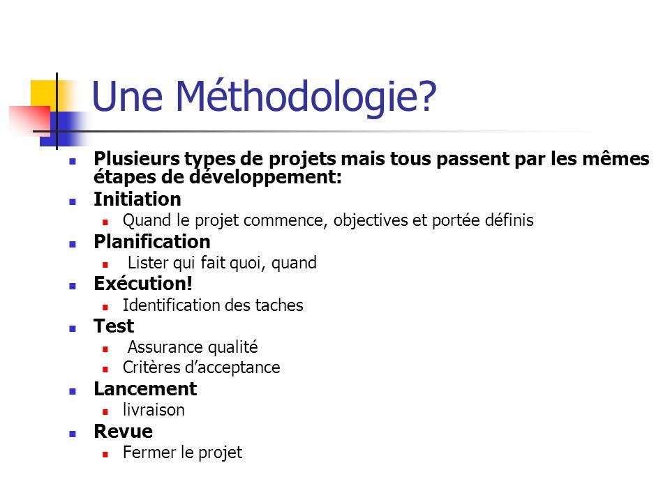 Une Méthodologie? Plusieurs types de projets mais tous passent par les mêmes étapes de développement: Initiation Quand le projet commence, objectives