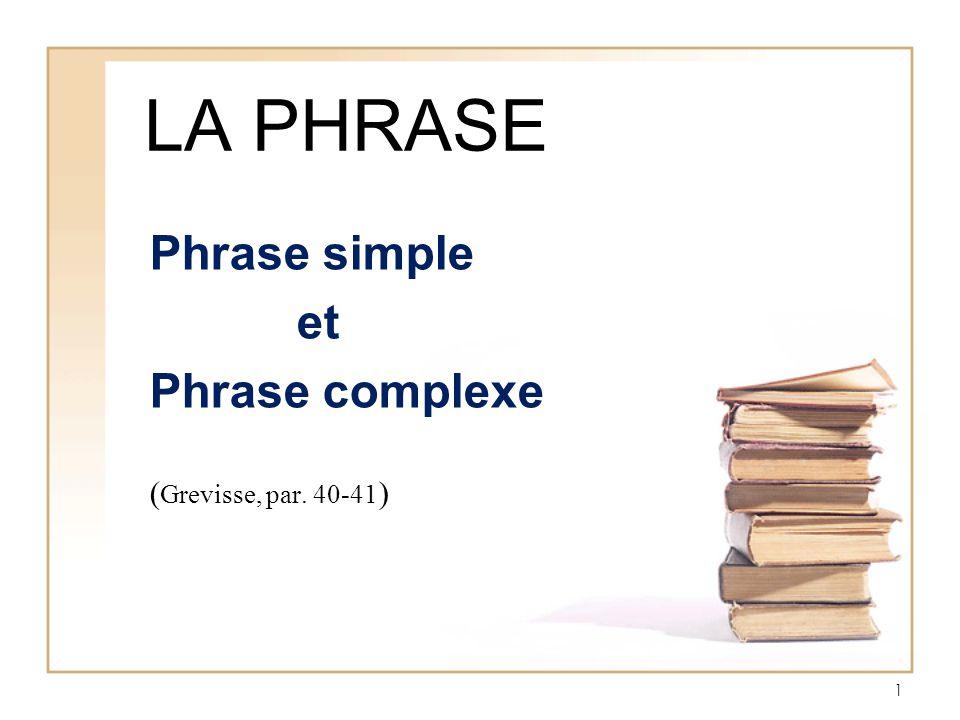 2 Phrase simple Ne contient quun seul verbe conjugué, donc une seule proposition Se compose dun groupe sujet et dun groupe verbe (mode personnel) Sy ajoutent des précisions syntaxiques Ex.
