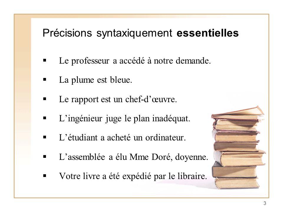 4 Précisions syntaxiquement accessoires Lassemblée générale a élu Mme Doré, doyenne de lÉTS.