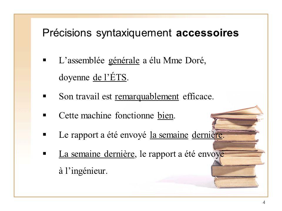 4 Précisions syntaxiquement accessoires Lassemblée générale a élu Mme Doré, doyenne de lÉTS. Son travail est remarquablement efficace. Cette machine f