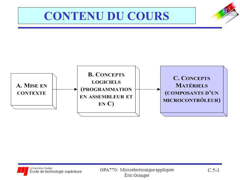 Université du Québec École de technologie supérieure GPA770: Microélectronique appliquée Éric Granger C.5-1 CONTENU DU COURS
