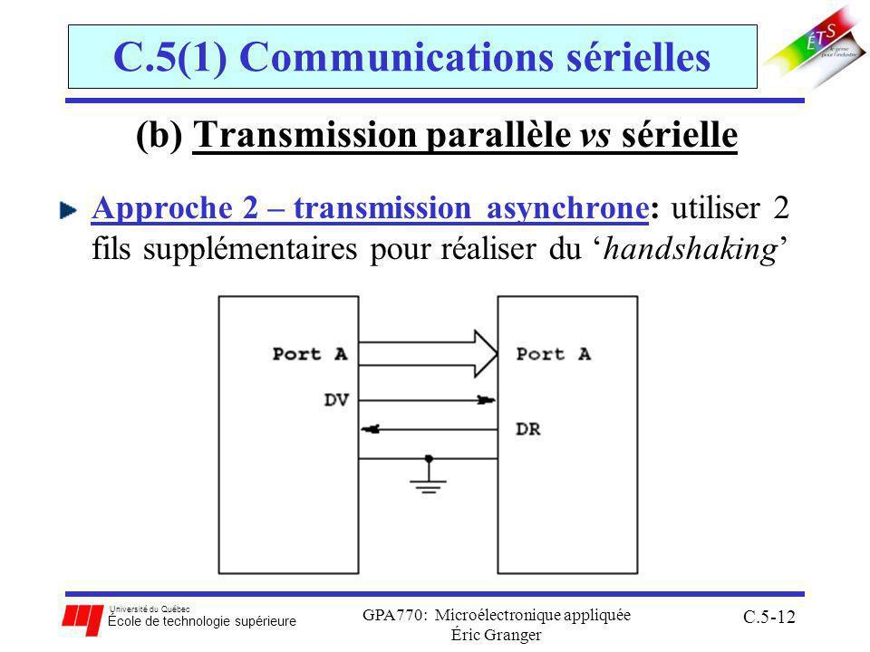 Université du Québec École de technologie supérieure GPA770: Microélectronique appliquée Éric Granger C.5-12 C.5(1) Communications sérielles (b) Transmission parallèle vs sérielle Approche 2 – transmission asynchrone: utiliser 2 fils supplémentaires pour réaliser du handshaking