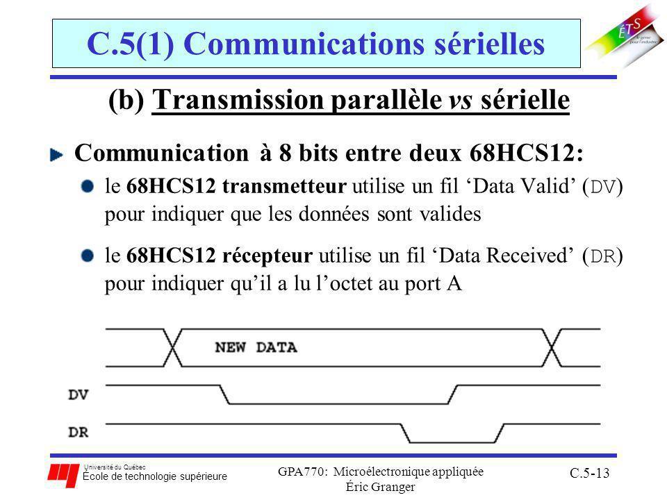 Université du Québec École de technologie supérieure GPA770: Microélectronique appliquée Éric Granger C.5-13 C.5(1) Communications sérielles (b) Transmission parallèle vs sérielle Communication à 8 bits entre deux 68HCS12: le 68HCS12 transmetteur utilise un fil Data Valid ( DV ) pour indiquer que les données sont valides le 68HCS12 récepteur utilise un fil Data Received ( DR ) pour indiquer quil a lu loctet au port A