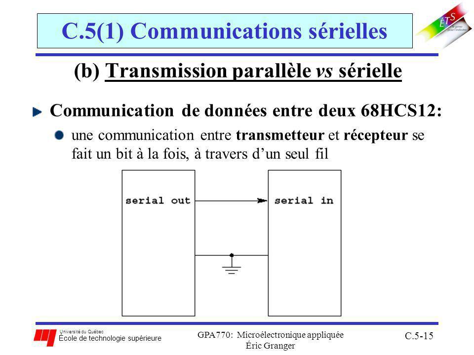 Université du Québec École de technologie supérieure GPA770: Microélectronique appliquée Éric Granger C.5-15 C.5(1) Communications sérielles (b) Transmission parallèle vs sérielle Communication de données entre deux 68HCS12: une communication entre transmetteur et récepteur se fait un bit à la fois, à travers dun seul fil
