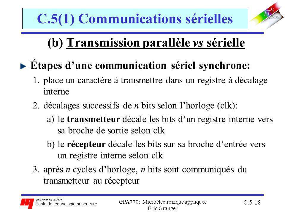 Université du Québec École de technologie supérieure GPA770: Microélectronique appliquée Éric Granger C.5-18 C.5(1) Communications sérielles (b) Transmission parallèle vs sérielle Étapes dune communication sériel synchrone: 1.place un caractère à transmettre dans un registre à décalage interne 2.décalages successifs de n bits selon lhorloge (clk): a)le transmetteur décale les bits dun registre interne vers sa broche de sortie selon clk b)le récepteur décale les bits sur sa broche dentrée vers un registre interne selon clk 3.après n cycles dhorloge, n bits sont communiqués du transmetteur au récepteur