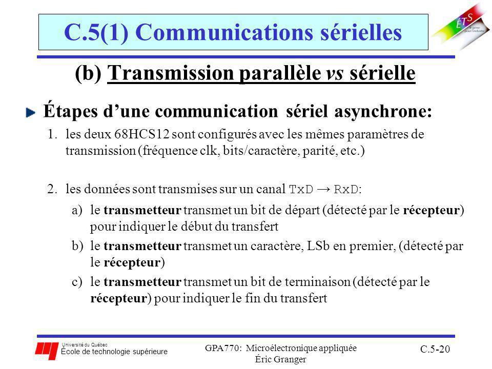 Université du Québec École de technologie supérieure GPA770: Microélectronique appliquée Éric Granger C.5-20 C.5(1) Communications sérielles (b) Transmission parallèle vs sérielle Étapes dune communication sériel asynchrone: 1.les deux 68HCS12 sont configurés avec les mêmes paramètres de transmission (fréquence clk, bits/caractère, parité, etc.) 2.les données sont transmises sur un canal TxD RxD : a)le transmetteur transmet un bit de départ (détecté par le récepteur) pour indiquer le début du transfert b)le transmetteur transmet un caractère, LSb en premier, (détecté par le récepteur) c)le transmetteur transmet un bit de terminaison (détecté par le récepteur) pour indiquer le fin du transfert