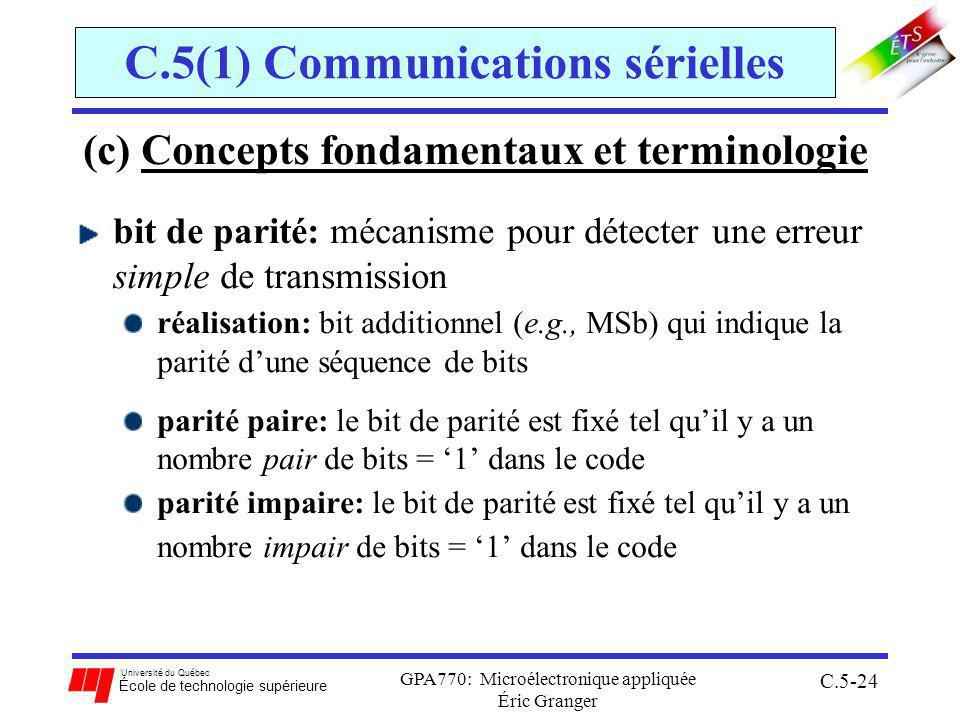 Université du Québec École de technologie supérieure GPA770: Microélectronique appliquée Éric Granger C.5-24 C.5(1) Communications sérielles (c) Concepts fondamentaux et terminologie bit de parité: mécanisme pour détecter une erreur simple de transmission réalisation: bit additionnel (e.g., MSb) qui indique la parité dune séquence de bits parité paire: le bit de parité est fixé tel quil y a un nombre pair de bits = 1 dans le code parité impaire: le bit de parité est fixé tel quil y a un nombre impair de bits = 1 dans le code