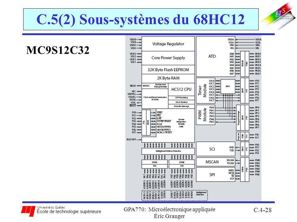 Université du Québec École de technologie supérieure GPA770: Microélectronique appliquée Éric Granger C.4-28 C.5(2) Sous-systèmes du 68HC12 MC9S12C32