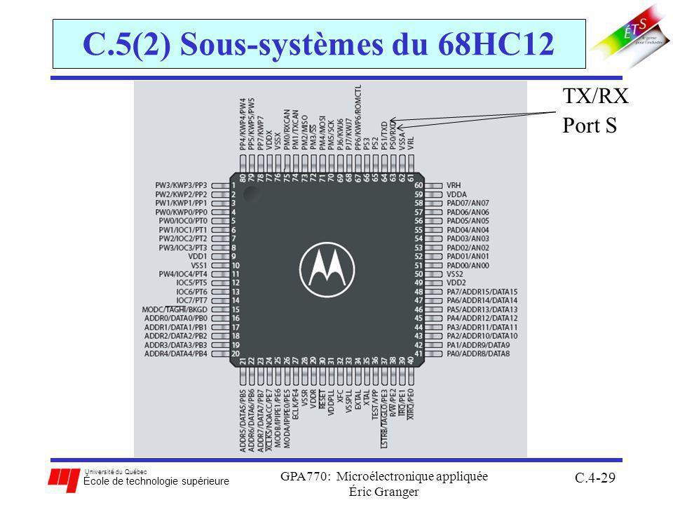 Université du Québec École de technologie supérieure GPA770: Microélectronique appliquée Éric Granger C.4-29 C.5(2) Sous-systèmes du 68HC12 TX/RX Port